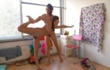 Nasty girls doing nude yoga