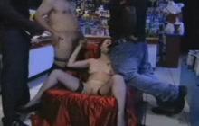 Amateur slut in stockings takes many dicks