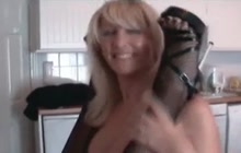Amateur busty MILFs play with strapon