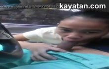 Pinay GF gives blowjob in the car