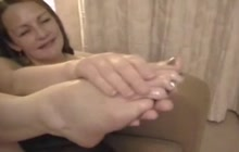 Footjob by amateur older lady